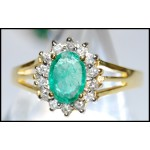 Solitaire 18K Yellow Gold Diamond Stunning Emerald Ring [RS0047]
