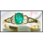 Diamond Stunning Solitaire Emerald 18K Yellow Gold Ring [RS0143]
