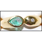 Diamond 18K Yellow Gold Exclusive Solitaire Emerald Ring [RS0198]