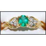 Solitaire 18K Yellow Gold Emerald Genuine Diamond Ring [RS0203]