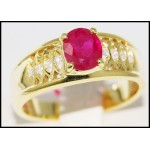 Estate Solitaire Diamond Ruby Ring 14K Yellow Gold [RR022]