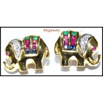 Diamond 14K Yellow Gold Multi Gemstone Elephant Earrings [E_110]