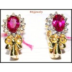 Clip-On Ruby Gemstone Ribbon Earrings 14K Yellow Gold [E_108]