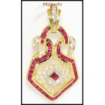 Eternity Diamond 18K Yellow Gold Gemstone Ruby Pendant [P0085]